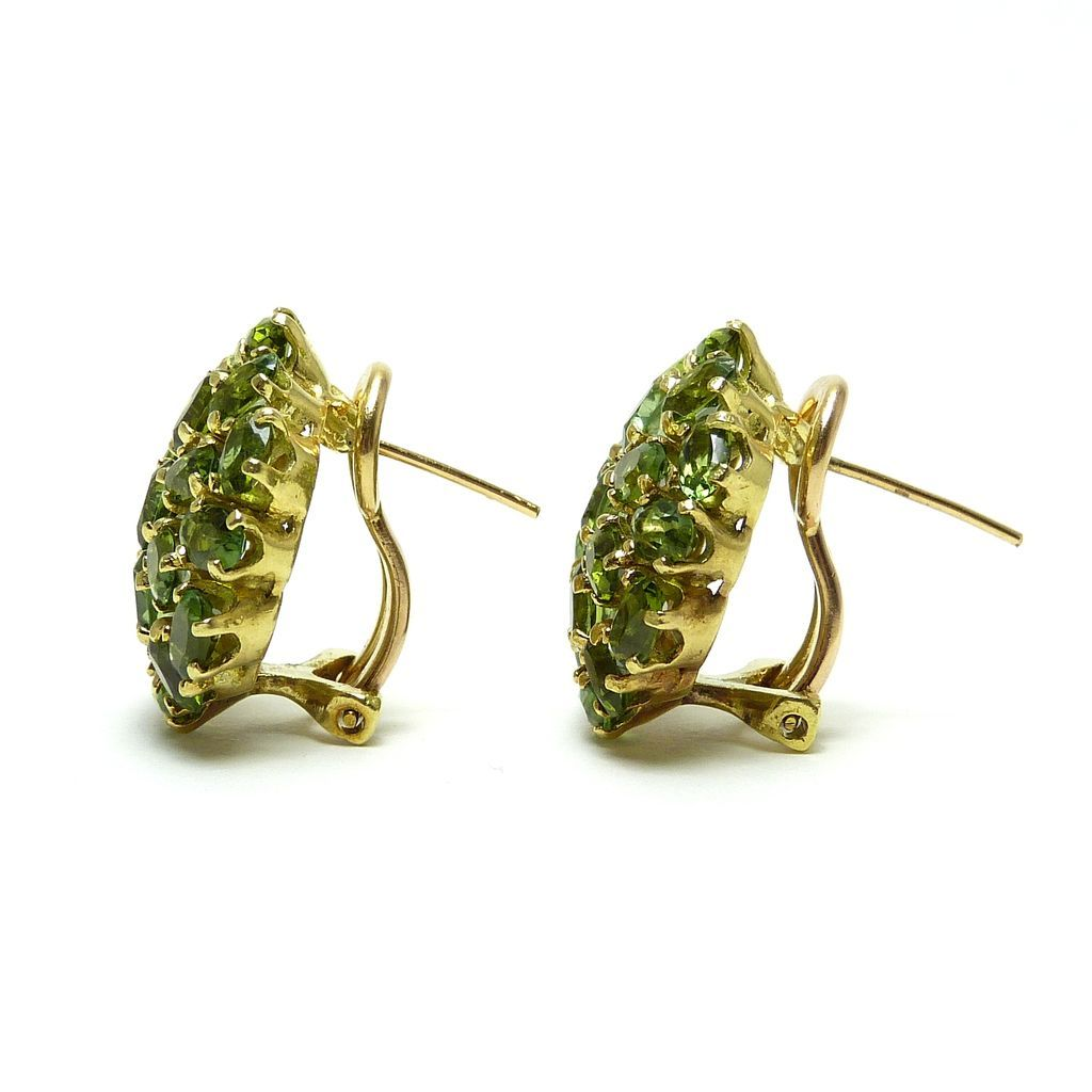 Chrome Tourmaline Pave Cluster 18 Karat Gold Earrings From