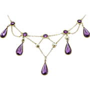 Amethyst Festoon 1880's Victorian Necklace