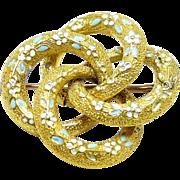 Forget Me Knot 14 Karat Gold Enamel Pin