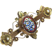 FRANCESCA Antique Forget-Me-Not Italian Multicolor Mosaic Natural Seed Pearl 9 Karat Gold Over Brass Pin