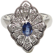 Sapphire and Diamond Miligrain Etched Cocktail Ring
