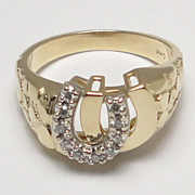 Vintage Gentleman's 14 Karat Yellow and White Gold Double Lucky Horseshoe Diamond Ring