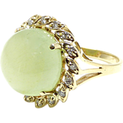 Diamond and Beryl Cabochon 14K Gold Cocktail Ring – Size 6