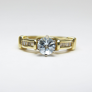 WENDY DARLING Vintage Aquamarine & Diamond 14 Karat Gold Ring