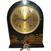 Gilbert 1807 Oriental Painted Round Top Mantel Clock