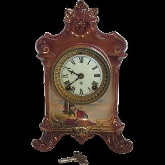 Ansonia Royal  Bonn La Salla Porcelain Clock Germany