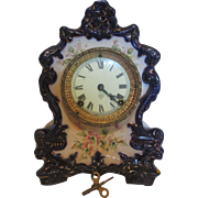 Ansonia  Wanderer Porcelain Blue Flower Clock