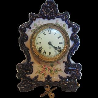 Ansonia  Wanderer Porcelain Blue Flower Clock