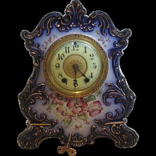 Waterbury Blue Flower Porcelain Shelf/Mantle Clock