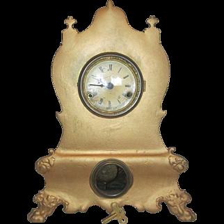 1859 Geo B Owen Cast Front Hour Strike Parlor  Clock