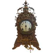Ansonia Brass Ornate Gilt Porcelain Face Shelf/Mantel Clock