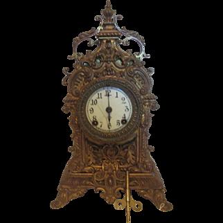 Ansonia Brass Ornate Gilt Porcelain Face Shelf/Mantel Clock