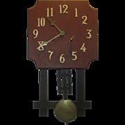 Antique Oak Mission Wall Clock National Clock Co