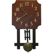 Antique Oak Mission Wall Clock National Clock Co