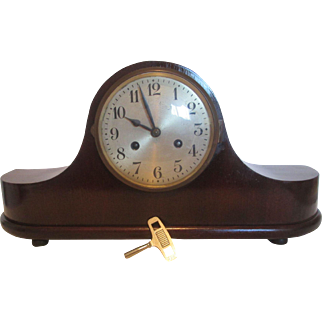 Antique German Wooden Mantel Clock