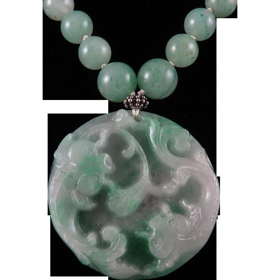 Chinese carved jade koi fish pendant and aventurine bead for Koi fish beads