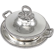 ODIOT: 1840s Antique French Sterling Silver Tureen & Stand, Serving Dish