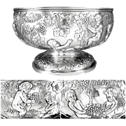 Antique Sterling Silver Centerpiece Bowl 'Putti Harvesting Grapes' London 1872