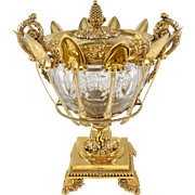 LENGLET : Stunning Antique French Vermeil Sterling Silver & Crystal Confiturier Centerpiece, Paris 1823-38