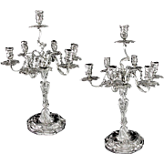 Stunning Pair of Antique Austro-Hungarian Empire Solid Silver 7-light Rococo Candelabra, 4225 grams!