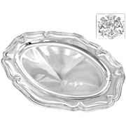 "VILLAIN : Antique French Sterling Silver 16.6"" Oval Serving Tray  / Platter with Royal Armorial"
