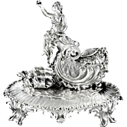 Exceptional Antique French Sterling Silver Mythological Figural Inkwell, Amphitrite & Nautilus