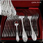 PUIFORCAT : Antique French Art Nouveau IRIS Sterling Silver 36pc Dinner Flatware Set
