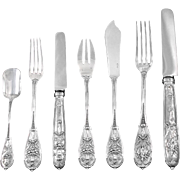 ODIOT : Luxurious & Rare French Sterling Silver COMPIEGNE Flatware Set 56pc