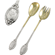 TALLOIS : Antique French Sterling Silver & Vermeil Salad Fork & Spoon Server Set