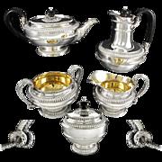 C S HARRIS : Antique Sterling Silver & Vermeil 5pc Tea Set Figural Serpent Handles - 3125 grams!