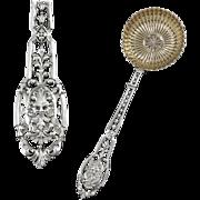 PUIFORCAT : Antique French Sterling Silver & Vermeil RENAISSANCE Mascaron Sugar Sifter Spoon