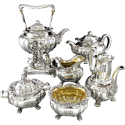 TIFFANY : Antique CHRYSANTHEMUM Sterling Silver 6pc Kettle, Coffee, Tea Set c. 1891