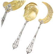 PUIFORCAT : Antique French Sterling Silver & Vermeil 'FERRURE' Ice Cream Serving Set 2pc