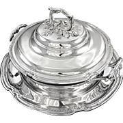 DOUTRE-ROUSSEL : Spectacular Antique French Sterling Silver Tureen on Stand - 2160 grams!