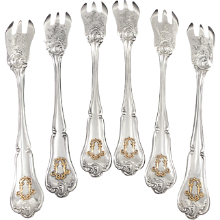 CARDEILHAC : Rare Antique French Sterling Silver & 18k Gold Melon Forks