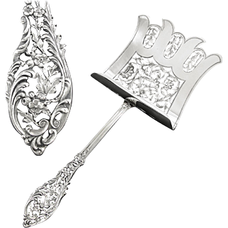 GRANDVIGNE : Sumptuous Antique French Sterling Silver Hooded Asparagus Server