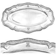 """PUIFORCAT : Massive Antique French Sterling Silver 17.8"""" Serving Platter / Tray (2 available!)"""