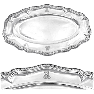 "PUIFORCAT : Massive Antique French Sterling Silver 17.8"" Serving Platter / Tray (2 available!)"