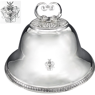 Rare Antique French Sterling Silver Meat Dome / Cloche ROTHSCHILD Coat of Arms 1817-1822