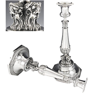 CHATENET : Rare Pair of Antique French Empire Sterling Silver Candlesticks Paris 1809-19 MASCARONS