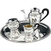 Antique French Sterling Silver Empire style 3pc Tea or Coffee Set MASCARONS, plus original plated Tray