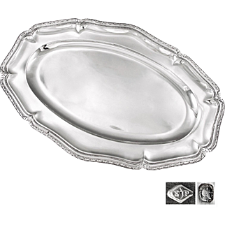 "PUIFORCAT : Antique French Sterling Silver 16.8"" Serving Platter or Tray"