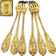 ODIOT : Antique French Vermeil Sterling Silver COMPIEGNE 6pc Dinner Fork Set, Royal Armories