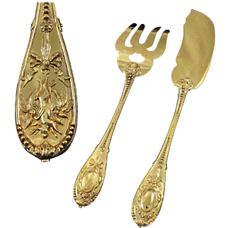 "ODIOT : Antique French Vermeil Sterling Silver ""COMPIEGNE"" Fish Serving Set 2pc"