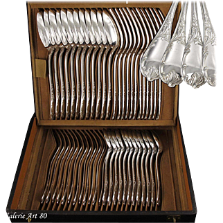 CHRISTOFLE : Rare French Sterling Silver MARLY pattern Flatware set for 12