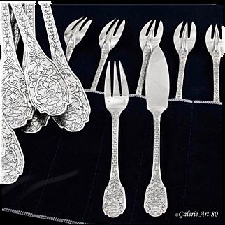 PUIFORCAT : Rare Antique French Sterling Silver SOUBISE Regency Fish Flatware Set