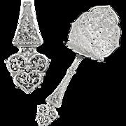"""PUIFORCAT : Antique French Sterling Silver """"GOTHIQUE"""" Asparagus Server"""