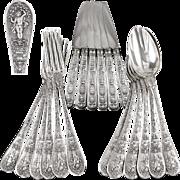 Rare Antique French Sterling Silver Empire Flatware Set, Swans, Putti, Ccornucopia...