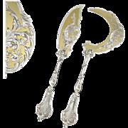 BOYER : Antique French Sterling Silver & Vermeil Louis XV Ice Cream / Dessert Server Set 2pc