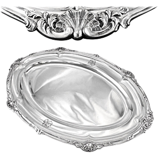 "PUIFORCAT : Antique French Sterling Silver Louis XV 17.8"" Serving Platter or Tray"
